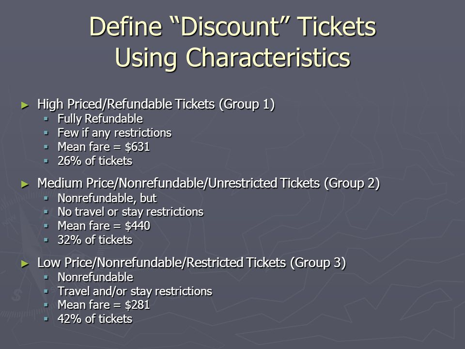 Define Discount Tickets Using Characteristics