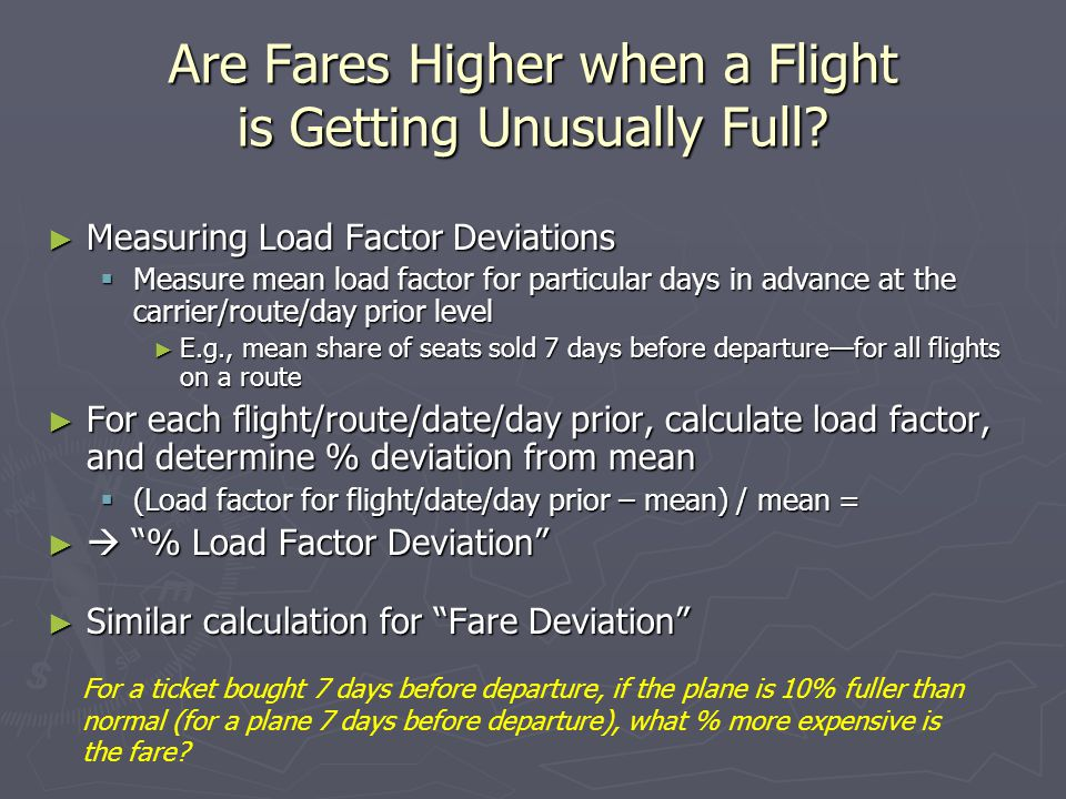 Are Fares Higher when a Flight is Getting Unusually Full