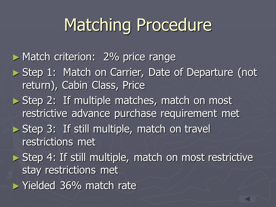 Matching Procedure Match criterion: 2% price range
