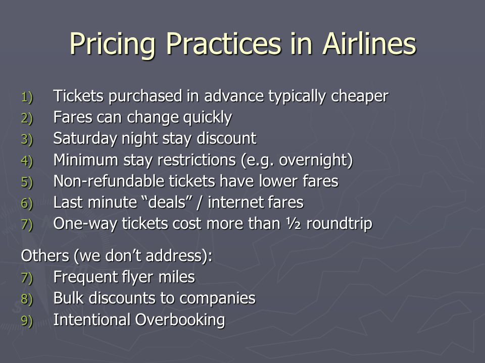 Pricing Practices in Airlines