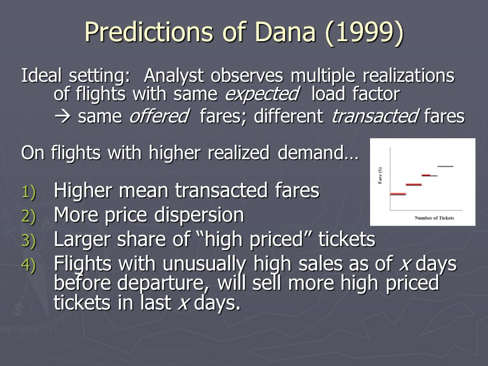 Predictions of Dana (1999) Higher mean transacted fares