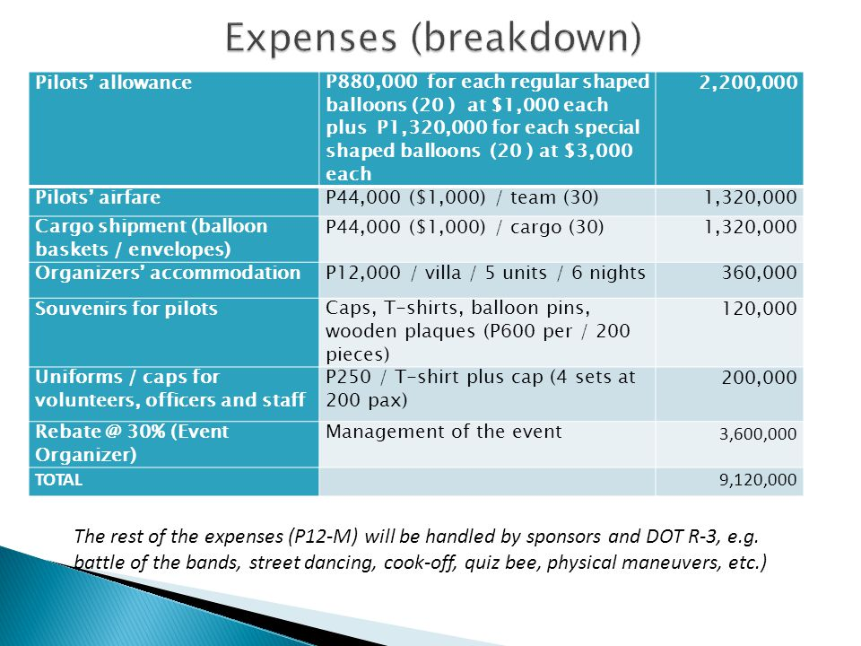 Expenses (breakdown) Pilots' allowance.