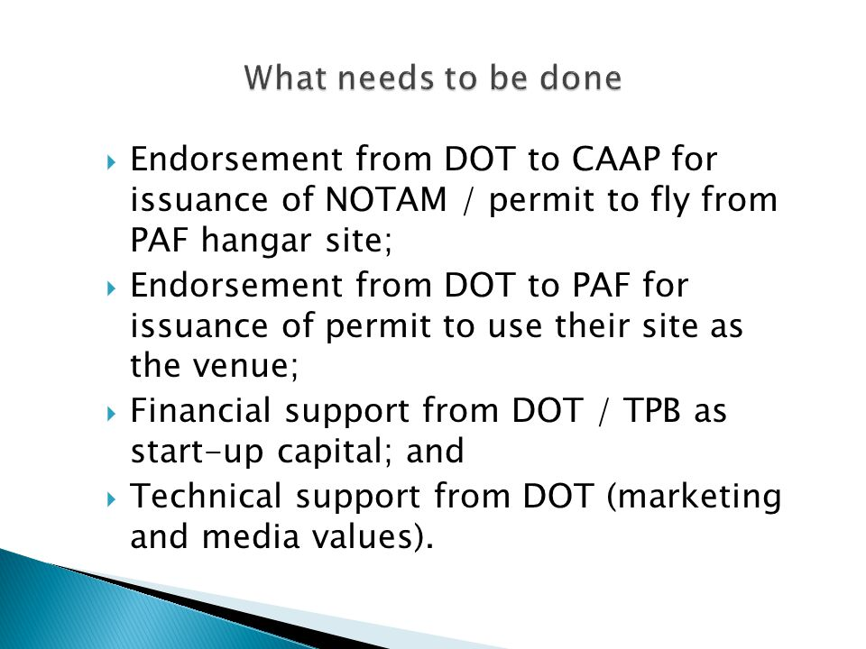 What needs to be done Endorsement from DOT to CAAP for issuance of NOTAM / permit to fly from PAF hangar site;