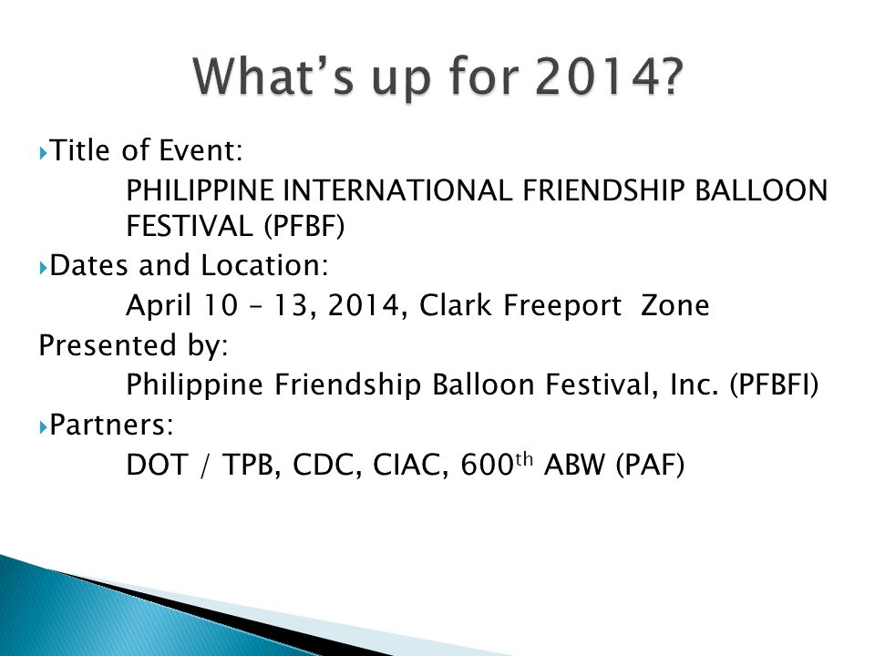 What's up for 2014 Title of Event:
