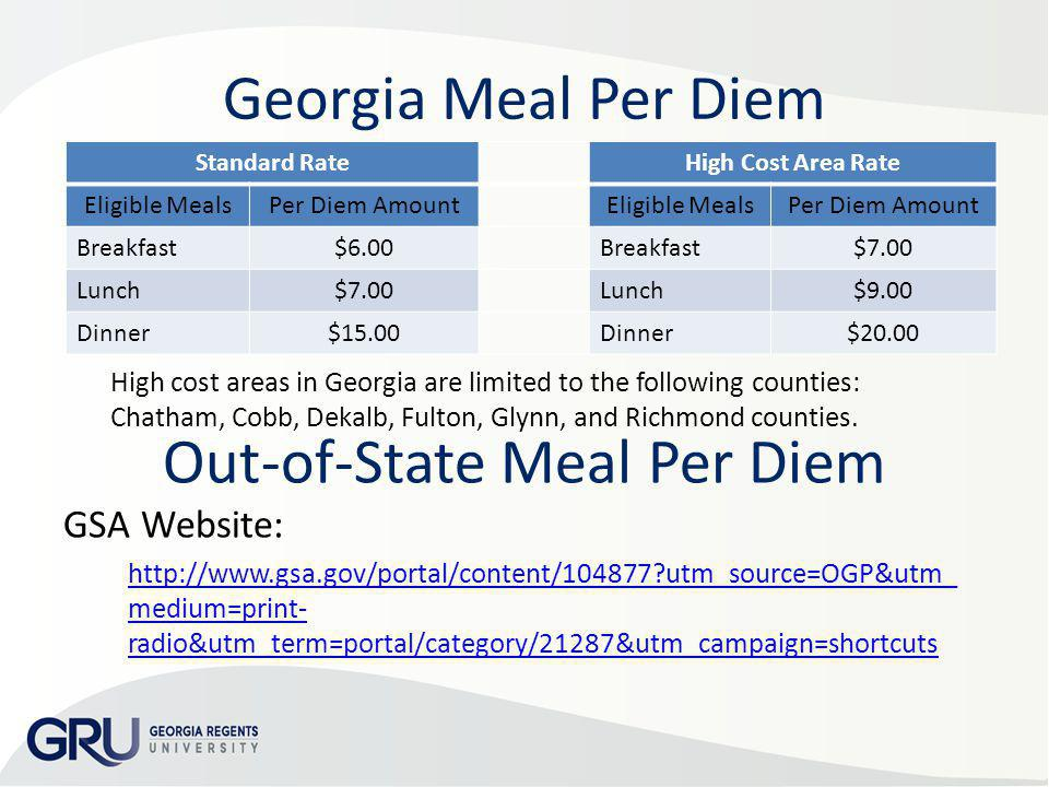 Out-of-State Meal Per Diem