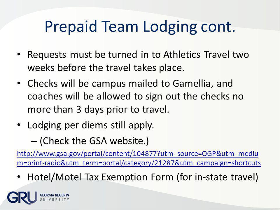 Prepaid Team Lodging cont.