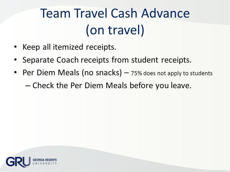 Team Travel Cash Advance (on travel)