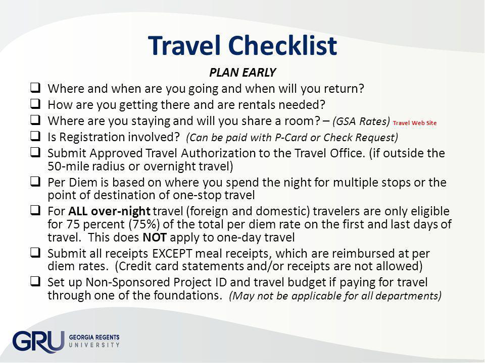 Travel Checklist PLAN EARLY