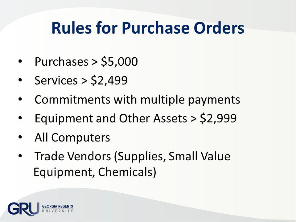 Rules for Purchase Orders