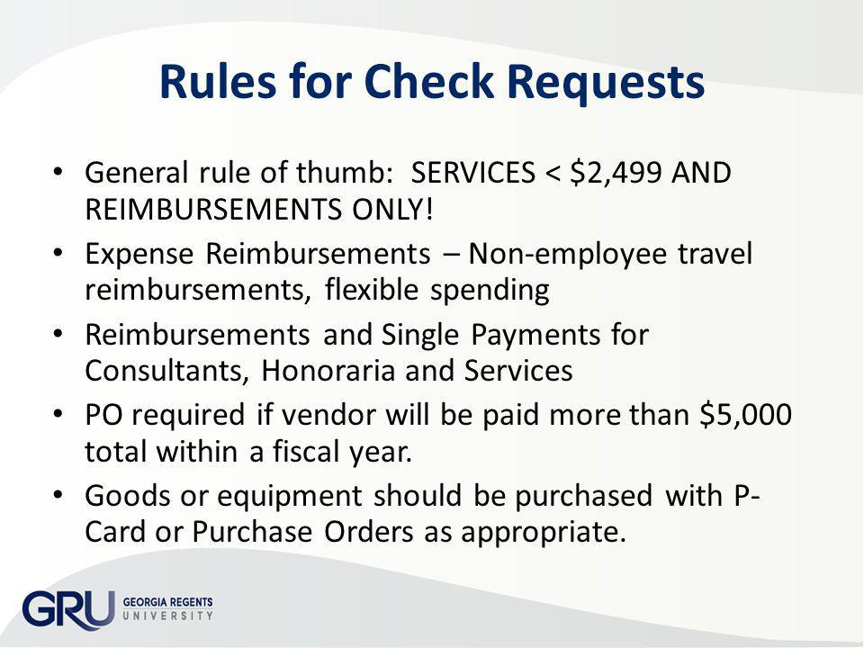 Rules for Check Requests
