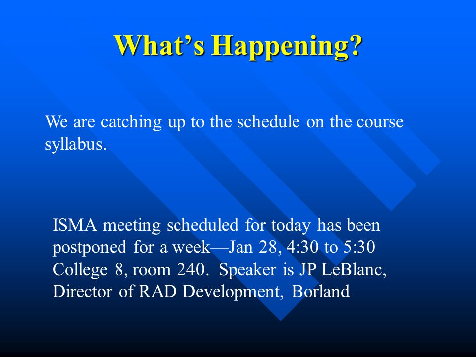 What's Happening We are catching up to the schedule on the course syllabus.