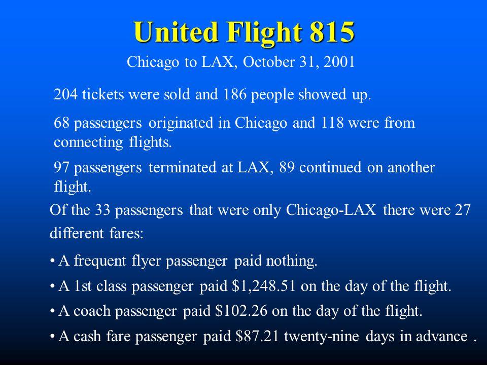 United Flight 815 Chicago to LAX, October 31, 2001