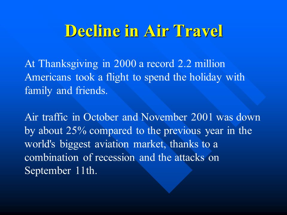 Decline in Air Travel At Thanksgiving in 2000 a record 2.2 million Americans took a flight to spend the holiday with family and friends.