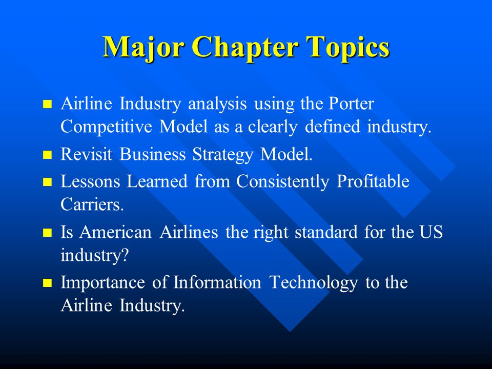 Major Chapter Topics Airline Industry analysis using the Porter Competitive Model as a clearly defined industry.