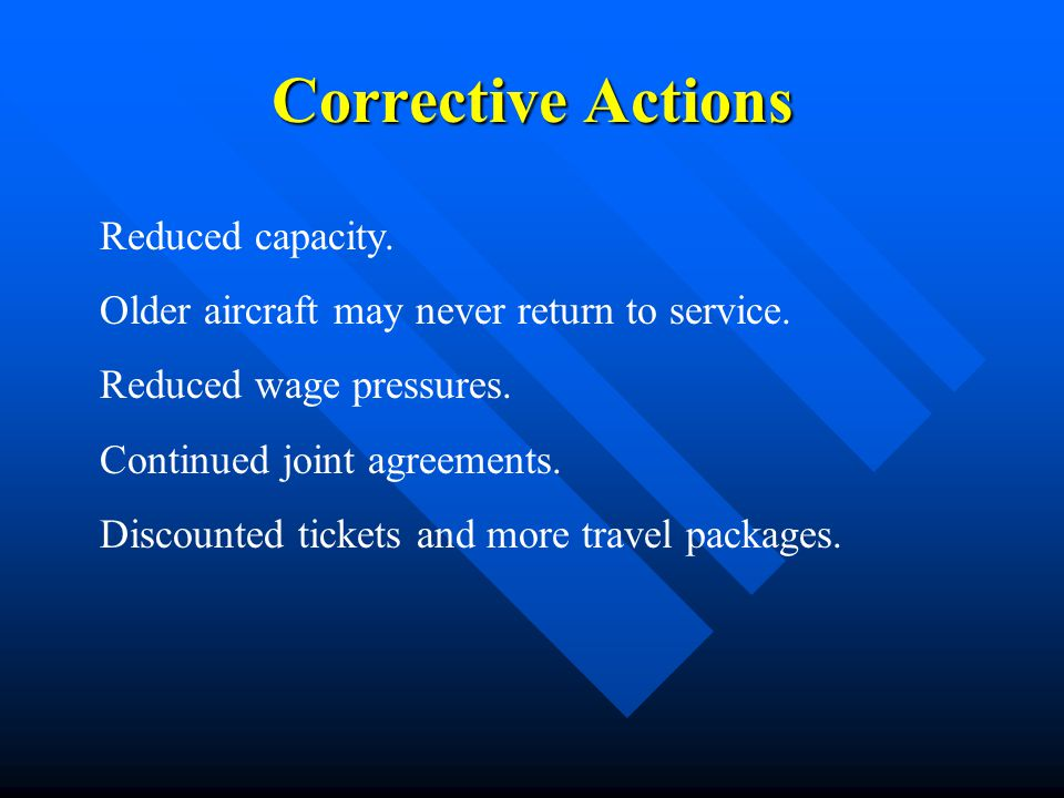 Corrective Actions Reduced capacity.