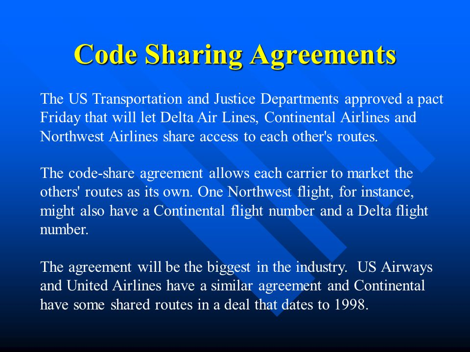 Code Sharing Agreements