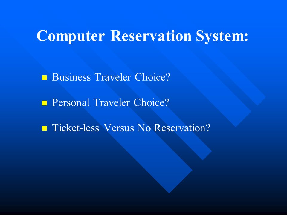 computerized reservation system A system for electronically collecting and displaying information about commercial flights and passenger reservations on them.