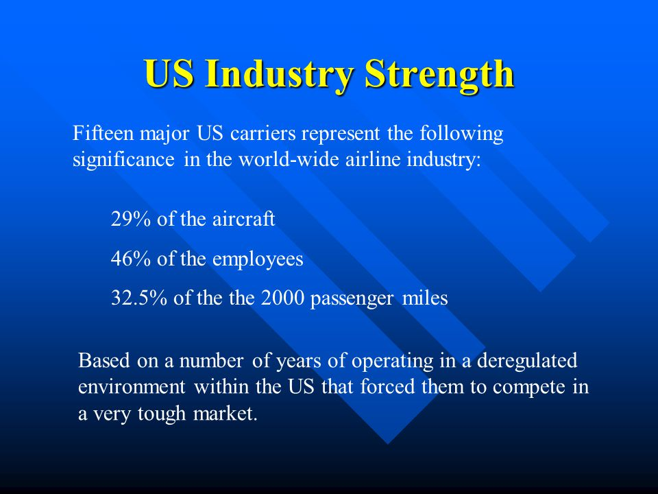 US Industry Strength Fifteen major US carriers represent the following significance in the world-wide airline industry: