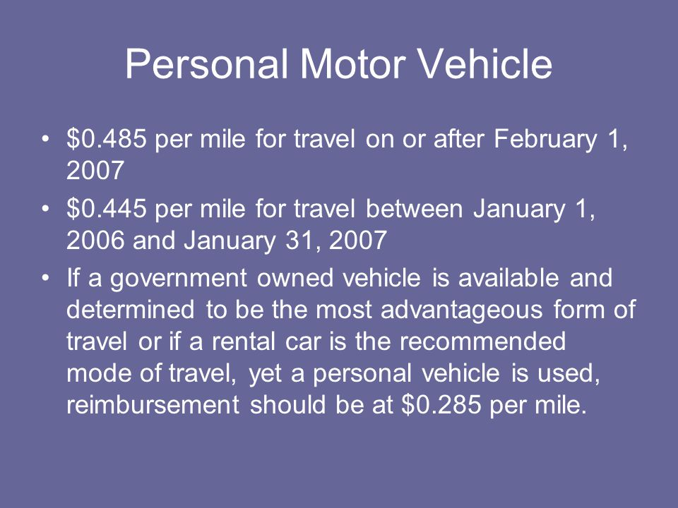Personal Motor Vehicle