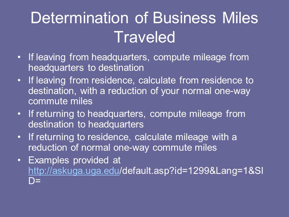 Determination of Business Miles Traveled