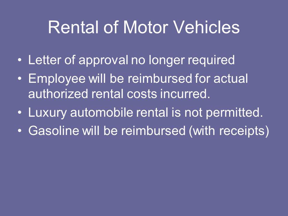 Rental of Motor Vehicles