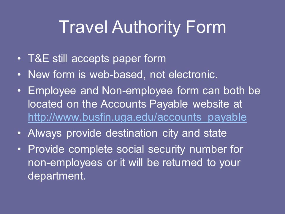 Travel Authority Form T&E still accepts paper form