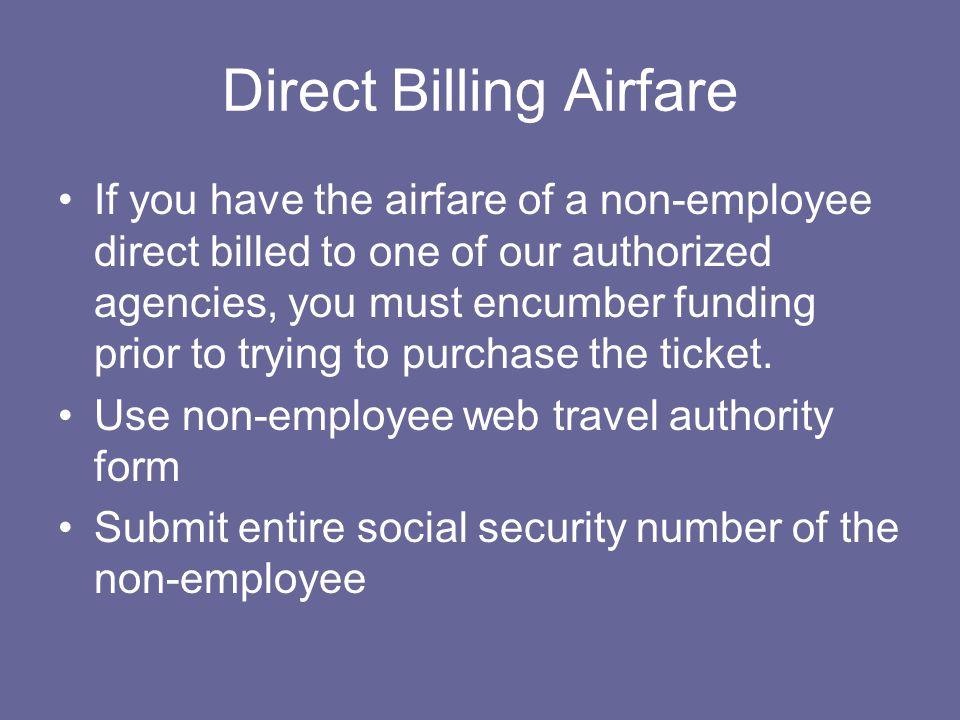 Direct Billing Airfare