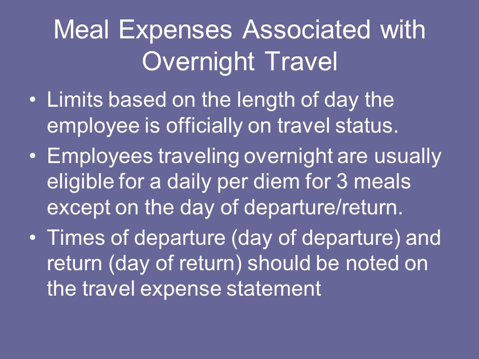 Meal Expenses Associated with Overnight Travel