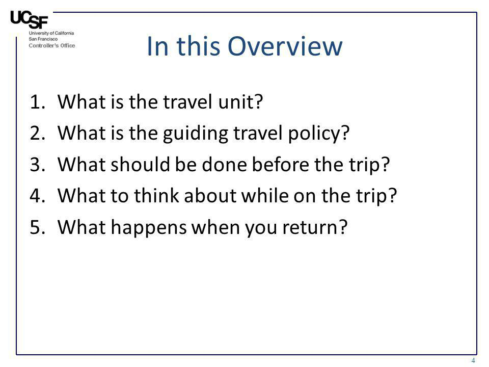 In this Overview What is the travel unit