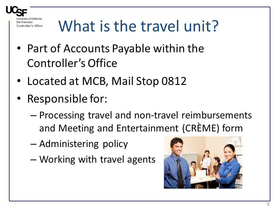 What is the travel unit Part of Accounts Payable within the Controller's Office. Located at MCB, Mail Stop