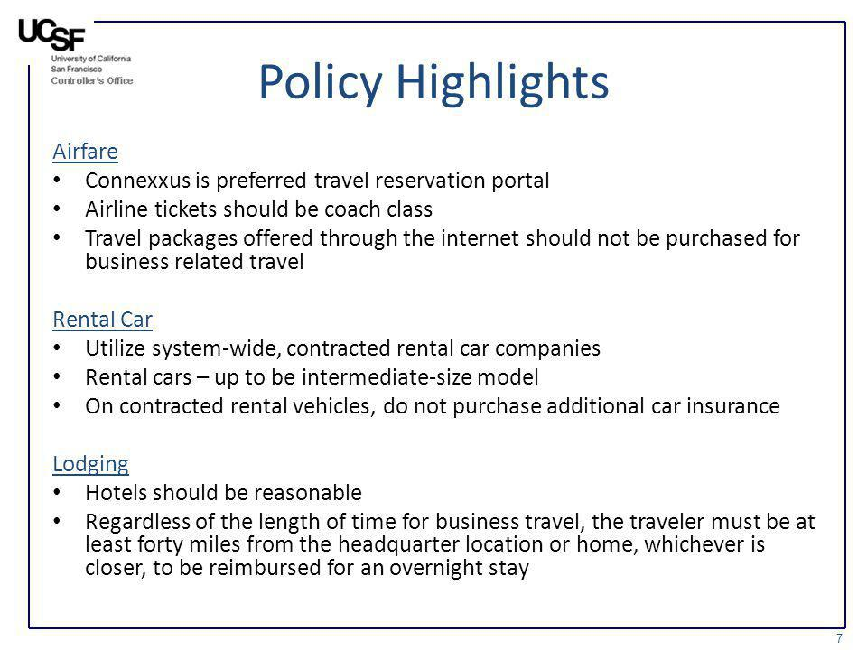 Policy Highlights Airfare