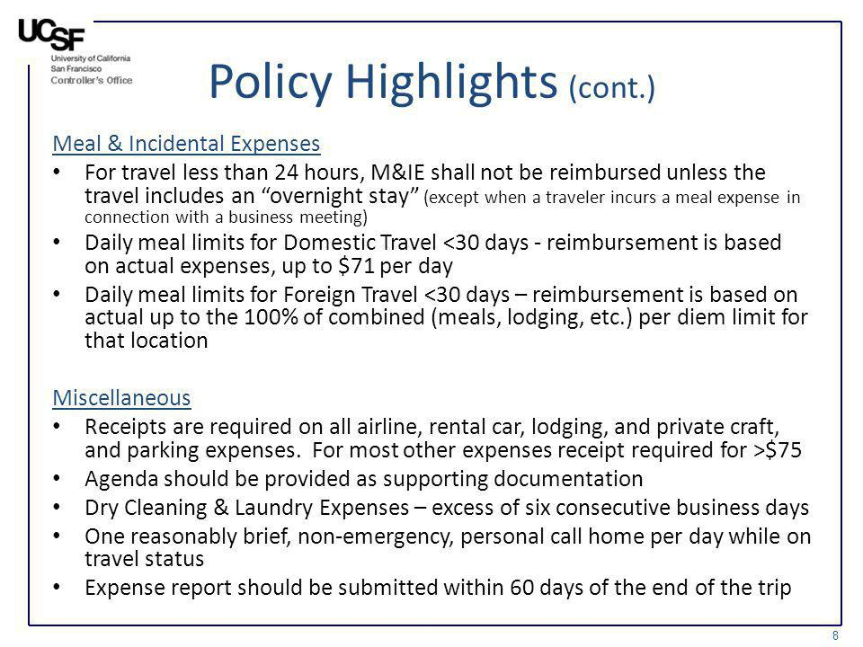 Policy Highlights (cont.)