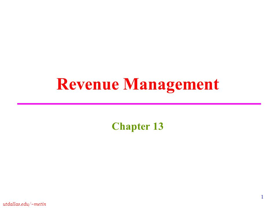 Revenue Management Chapter 13