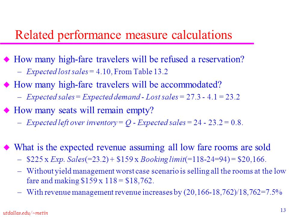 Related performance measure calculations