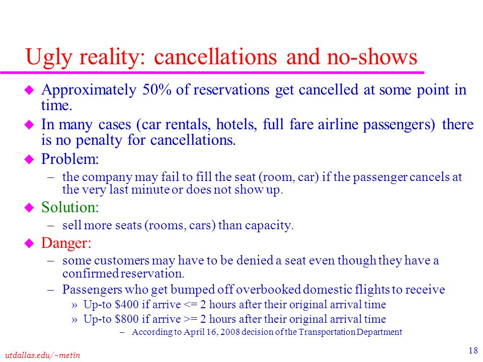 Ugly reality: cancellations and no-shows