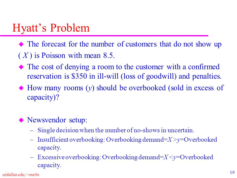 Hyatt's Problem The forecast for the number of customers that do not show up. ( X ) is Poisson with mean 8.5.