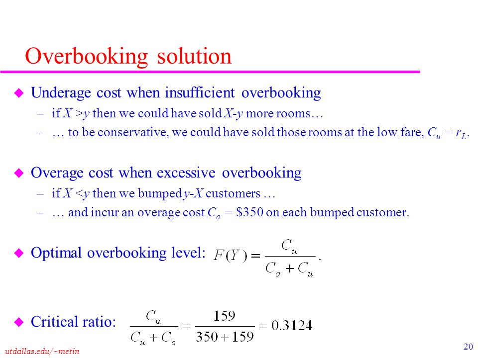 Overbooking solution Underage cost when insufficient overbooking