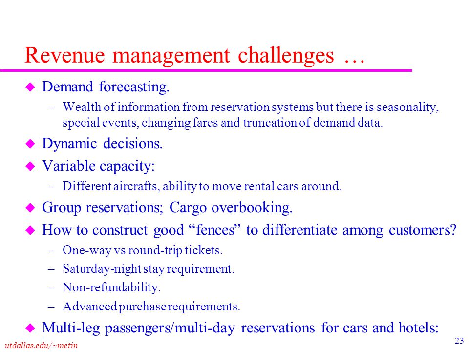 Revenue management challenges …