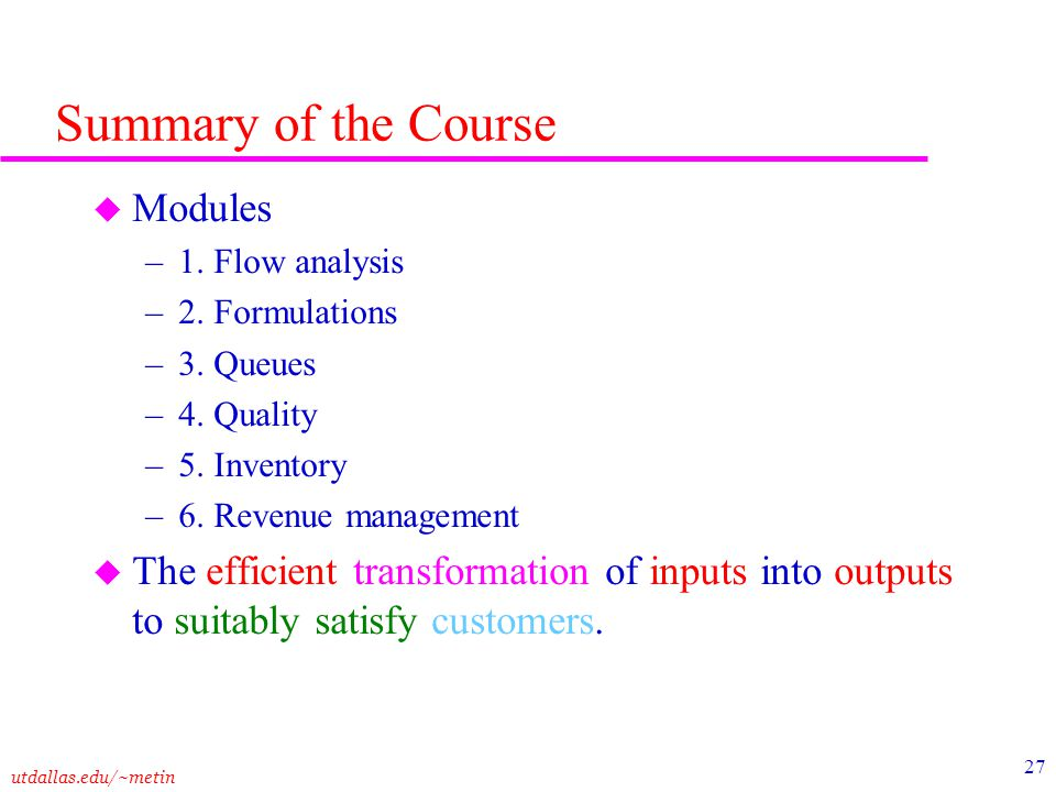 Summary of the Course Modules