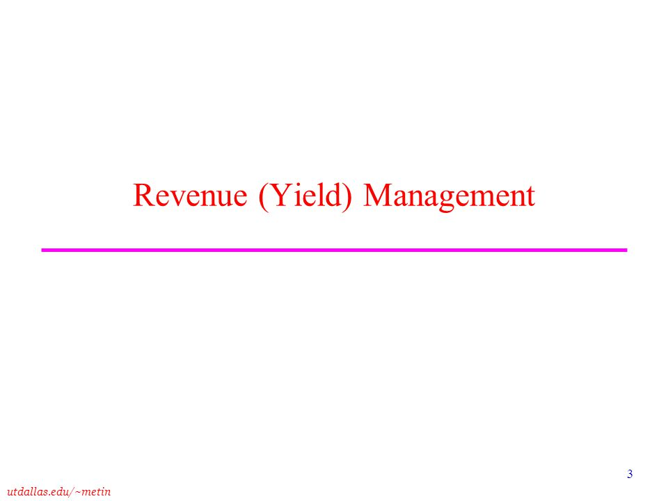 Revenue (Yield) Management