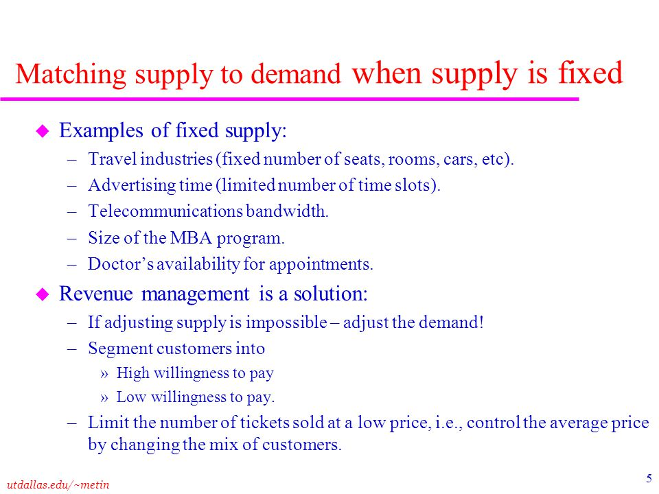 Matching supply to demand when supply is fixed