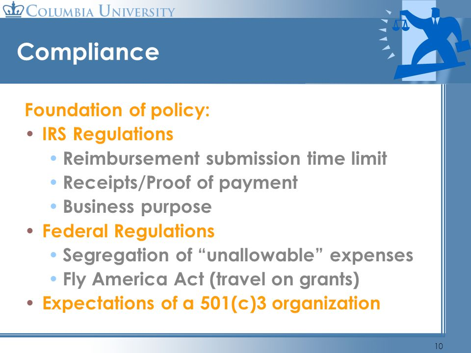 Compliance Foundation of policy: IRS Regulations