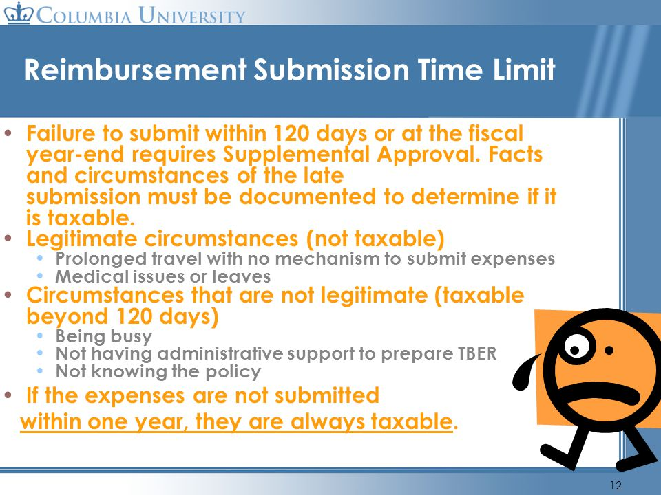 Reimbursement Submission Time Limit
