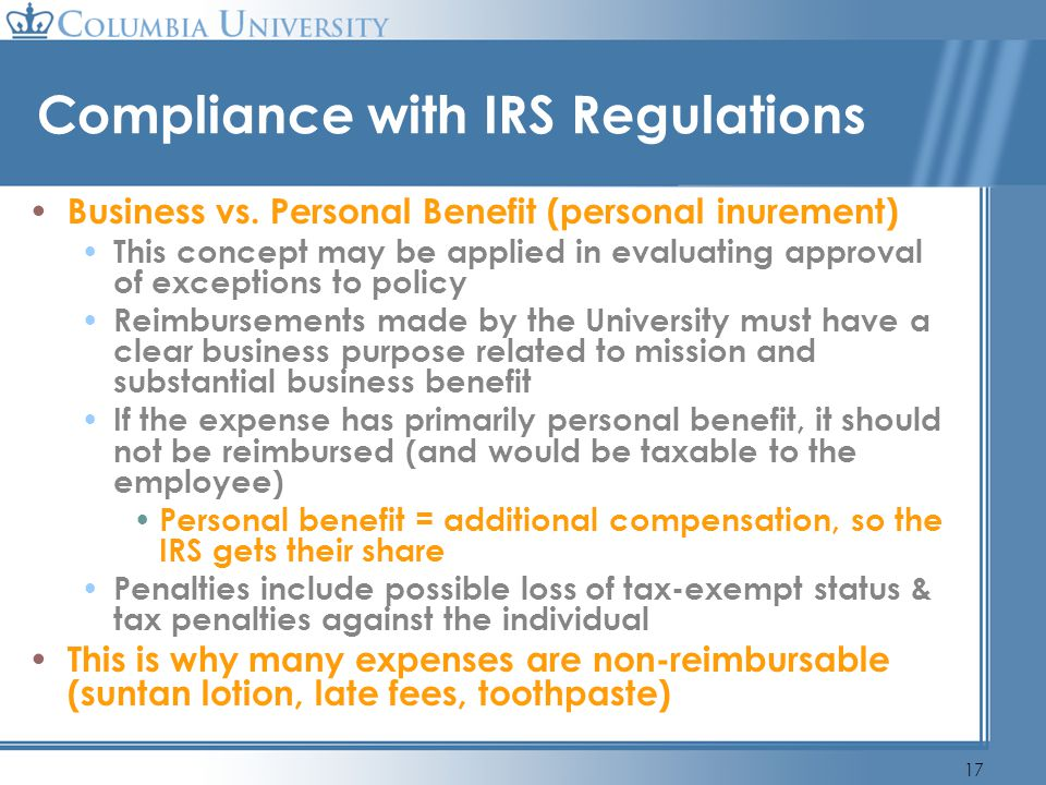 Compliance with IRS Regulations
