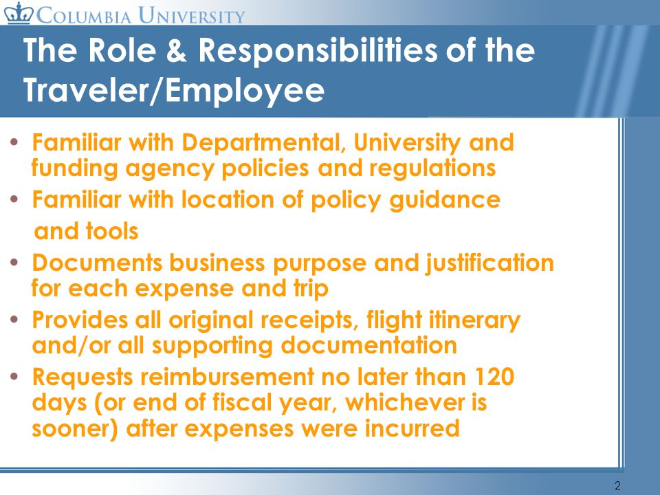 The Role & Responsibilities of the Traveler/Employee