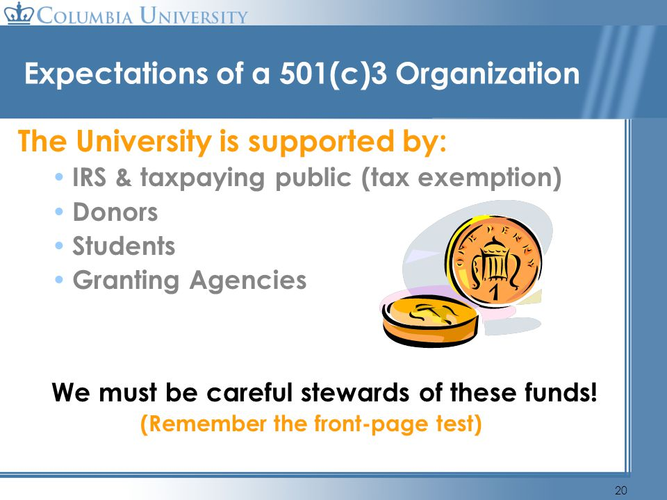 Expectations of a 501(c)3 Organization