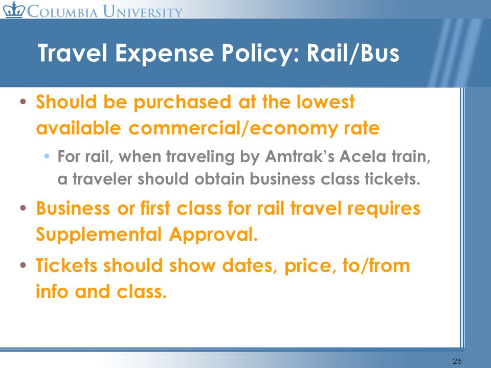 Travel Expense Policy: Rail/Bus
