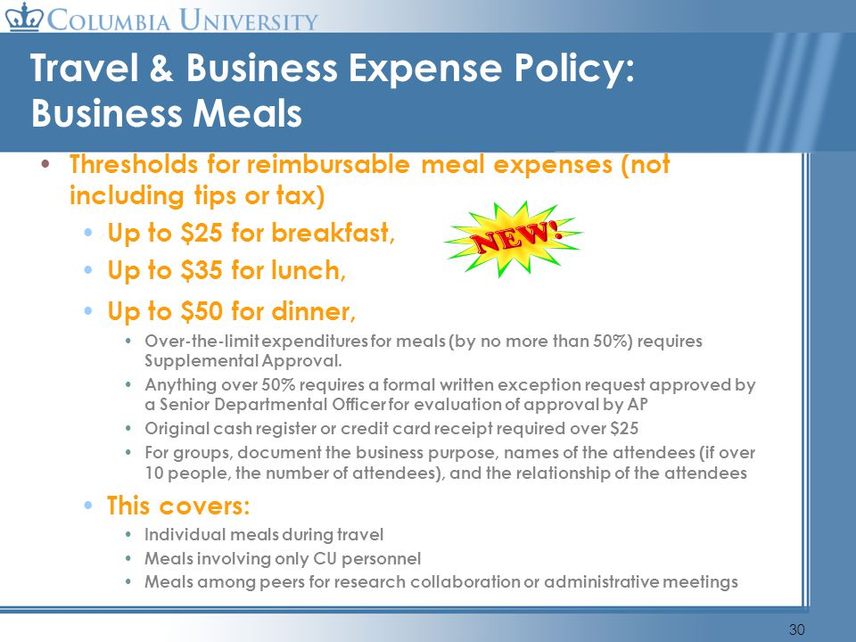 Travel & Business Expense Policy: Business Meals