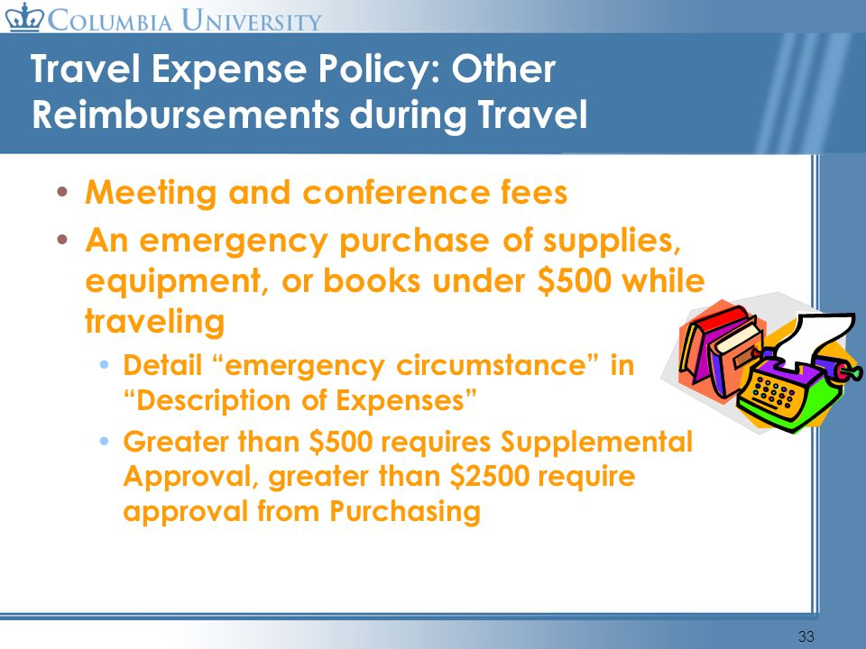 Travel Expense Policy: Other Reimbursements during Travel