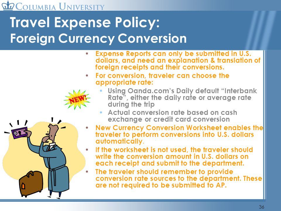 Travel Expense Policy: Foreign Currency Conversion